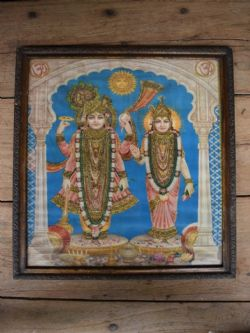 Embellished Vintage 1950s Print of Laxshmi and Vishnu
